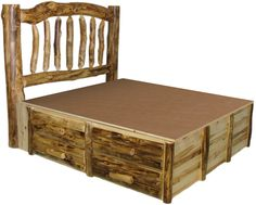 i like the idea of the drawers under the bed for storage. my retirement home will be rustic and small so i can sure use all the storage space i can get. Rustic Bedroom Furniture, Log Bed, Mission Beds, Burl Wood Furnishings, Log Cabin Bedroom Furniture