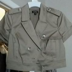 bebe crop jacket Khaki cropped short sleeve jacket bebe Jackets & Coats Jean Jackets