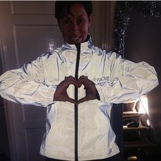 Yaay! @solo_rider133 with her new CRS #Reflect360 jacket from our Kickstarter campaign! 🌟🌟 We ❤️ you too Karen! 🚴🏼💨