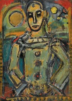 Painting by  Georges Rouault, 1940, Pierrot n°I, oil on canvas, Centre Pompidou, Paris.