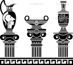 ensemble de vases helléniques et colonnes ioniques - Illustration: 9810648