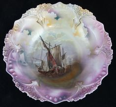 Antique RS Prussia Masted Schooner SHIP 10 Bowl Colorfully Detailed | eBay