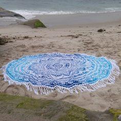 Tassel White and Blue Bohemian Blanket