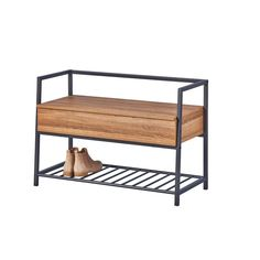 Polenace Wood and Metal Storage Bench Wooden Shoe Storage, Bench With Shoe Storage, Upholstered Storage Bench, Bedroom Storage, Wicker Basket Drawers, Linen Baskets, Hallway Bench, Hallway Decorating, Wood Construction
