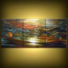 ORIGINAL large abstract HUGE tree painting lollipop abstract sunset cloud painting large abstract  landscape 66 x 28