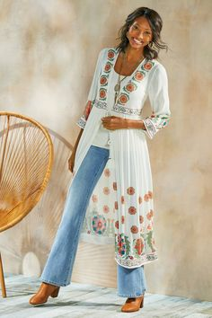Caldera Topper - Full Length Topper | Soft Surroundings Boho Fashion, Fashion Outfits, Womens Fashion, Fashion Ideas, Soft Surroundings Clothing, Cardigan Sweaters For Women, Vintage Denim, Vintage Outfits, Casual Outfits