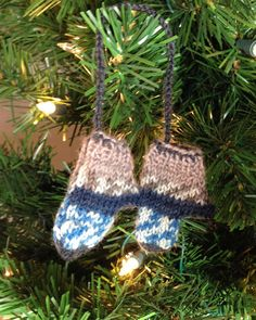 Mini Knitted Mitten Ornament Miniature Decoration by FabriArts