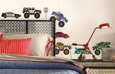Our Under Construction set of wall stickers comes complete with brightly coloured dump and cement trucks, cranes, and construction signs. Product size: 4 sheets of x 23 decals. Vinyl Wall Stickers, Vinyl Wall Decals, Construction Signs, Toddler Bed, Nursery, Trucks, Furniture, Color, Home Decor