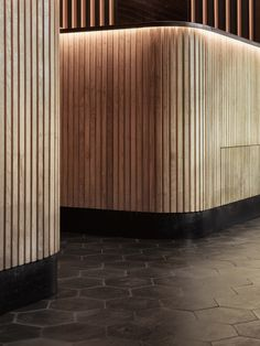 Slatted woodwork forms a canopy over this Spanish tapas bar and restaurant in Midtown Manhattan, which Studio Razavi based on a market in Barcelona. Lobby Interior, Cafe Interior, Interior Design, Brewery Interior, Restaurant Concept, Restaurant Bar, Ceiling Design, Wall Design, Spa Design