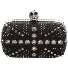 Alexander McQueen Studded Britannia Skull Box Clutch (31 490 UAH) ❤ liked on Polyvore featuring bags, handbags, clutches, purses, accessories, black, genuine leather handbags, leather purse, leather handbags and skull purse
