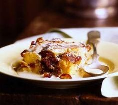English toffee brioche bread pudding with banana caramel sauce