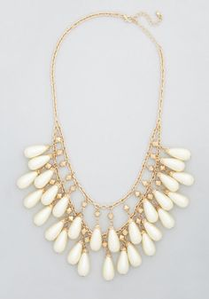 Elegance Any Evening Necklace - Solid, Pearls, Holiday Party, Luxe, Statement, Fall, Gold, Wedding, 20s