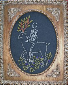 """""""My Deer"""" - by artist Mavis Leahy. Embroidery on vintage linen, 8"""" x 10"""" - SOLD"""