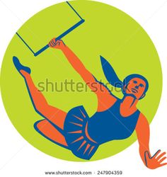 Illustration of an acrobat performing a flying trapeze act set inside circle done in retro style on isolated background. - stock vector #mother #retro #illustration