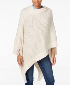 Cejon Sequined Knit Poncho - Tan/Beige