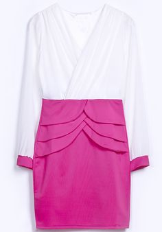White Red V Neck Long Sleeve Cascading Dress