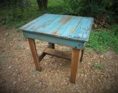 Turquoise End Table, Handcrafted Solid Wood Side Turquoise & Brown Table, Southwest, Lodge,  Rustic Table, Reclaimed Wood, Patio Table