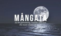Mangata: the glimmering roadlike reflection the moon creates on water. 28 Beautiful Words The English Language Should Steal Unusual Words, Rare Words, Unique Words, Powerful Words, Words To Use, Great Words, New Words, Expression Imagée, Word Nerd