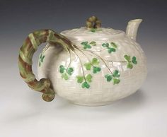 Belleek Irish Porcelain Shamrock Teapot Early Black Mark-I have this pot and many other lovely pieces of Belleek-it's lovely and very usable. Thank You  Belleek!