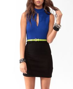 Neon Trimmed Bodycon Dress w/ Belt #eyecandy #f21exclusivecollection