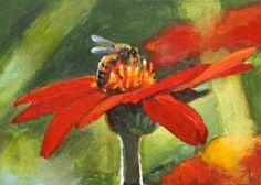 """On Target 5 x 7 Acrylic Honey Bee Painting on painting by artist John K. Harrell"""