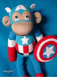 This reminds me of two people. Ben ... because he loves super heroes and Charlsie who loves sock monkeys.
