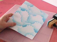 Cloud Paper Tutorial: cut plastic, use to sponge Distress ink clouds Diy Paper, Paper Crafts, Cloud Tutorial, Origami, Cloud Craft, Card Making Techniques, Heartfelt Creations, Card Tutorials, Copics