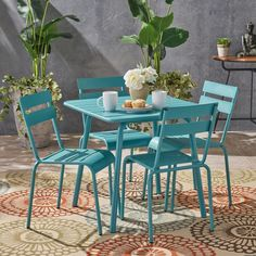 Shop for Lacina Outdoor 5 Piece Dining Set by Christopher Knight Home. Get free delivery On EVERYTHING* Overstock - Your Online Garden & Patio Shop! Get in rewards with Club O! Outdoor Cafe, Outdoor Dining Set, Patio Dining, Dining Room, Simple Furniture, Outdoor Furniture Sets, Pallet Furniture, Furniture Logo, Furniture Online