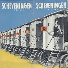 Scheveningen, 1935 - Holland, Netherlands row of beach cabin, vintage  travel poster