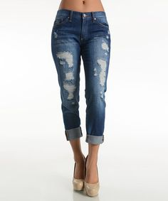 Look what I found on #zulily! Medium Wash Distressed Cuffed Skinny Jeans by Kan Can #zulilyfinds