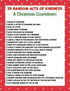 Keep the true meaning of Christmas with this printable list of 25 Random Acts of Kindness Christmas Countdown. True Meaning Of Christmas, 25 Days Of Christmas, Christmas Countdown, Family Christmas, Christmas List Ideas, Grinch Christmas, Kindness For Kids, Kindness Elves, Acts Of Kindness