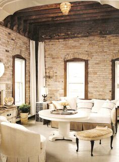 shades of white & cream with brick, stunning - bath wall
