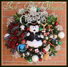 Sam the Snowman Rudolph Christmas Town Wreath, Santa, Yukon, Clarice, Misfit Dolly, Spotted Elephant, Sleigh bell, Silver lights by IrishGirlsWreaths on Etsy