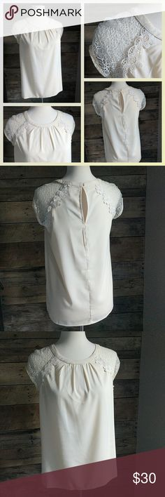 💕 Beautiful Top 💕 Crocheted cap sleeve top. Cream color is slightly darker than it appears in the pictures. Tops Blouses