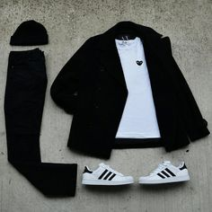 Armani Exchange Peacoat, Comme des Garcons tee, Black H&m pants and, adidas superstars