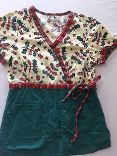 34f885c6328 XS Scrub Top Christmas Print Holly Leaves Plaid Mock Wrap Scrubs and Beyond  #ScrubsandBeyond Nursing