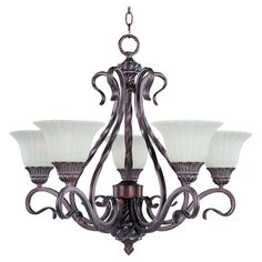 Five-light iron chandelier in Greek bronze with soft vanilla crystal glass shades and a scrollwork motif.  Product: Chandelier