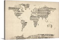 """World Map made up of Sheet Music"" by Michael Tompsett, available at @greatbigcanvas"