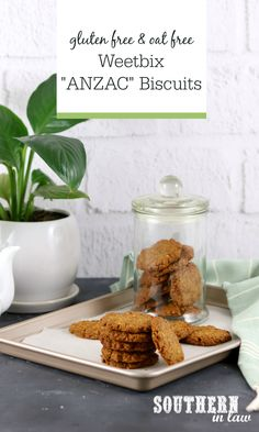 ANZAC Biscuits get a gluten free makeover with this Easy Weetbix ANZAC Biscuits Recipe. A clever twist on the traditional cookie, t. Gluten Free Weetbix, Gluten Free Oats, Gluten Free Cookies, Healthy Cookies, Gluten Free Recipes, Vegan Recipes, Gluten Free Anzac Biscuits, Australian Food, Low Carb Breakfast