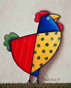 ideas for beginners Gustavo Rosa Institute - Home Gustavo Rosa Institute - Home Chicken Crafts, Chicken Art, Painting For Kids, Art For Kids, Hand Kunst, Chicken Painting, Bird Applique, Mosaic Birds, Chickens And Roosters