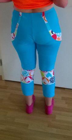 Eva's lovely blue & print PB Jam capris Swirl Design, Pattern Making, Workout Leggings, Sewing Patterns, How To Make, Blue, Collection, Tops, Fashion