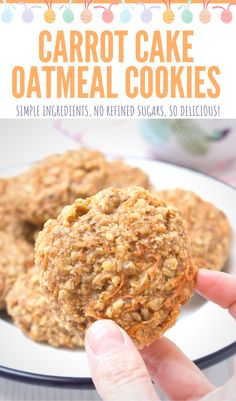 Nutty, sweet and full of wonderful ginger flavor, these Carrot Cake Oatmeal Cookies are perfect treat your family will love. These cookies are refined sugar-free, low-calorie and super easy to make. Perfect for Easter celebration! ------ #easter #eastercookies #breakfast #healthybreakfast #carrotcake #cookies #healthycookies #oatmealcookies Delicious Cookie Recipes, Holiday Cookie Recipes, Best Cookie Recipes, Bar Recipes, Health Recipes, Brownie Recipes, Dessert Recipes, Yummy Food, Peanut Butter Cookie Recipe