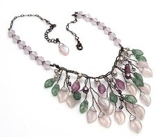 Green and Pink Leaf Bib Necklace, Flower Necklace by CherylParrottJewelry.etsy.com
