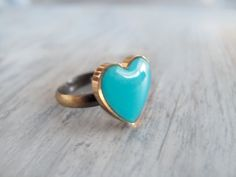 Turquoise Heart Adjustable Ring