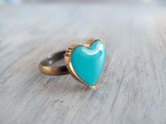 Turquoise Heart Adjustable Ring by LamFaTiTa on Etsy, $12.00