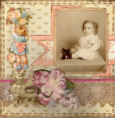 Little Darling, pg. 1 ~ Charming heritage two page spread featuring a series of vintage portraits.