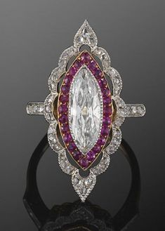 Edwardian Marquise Diamond and Ruby Ring circa 1915