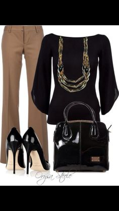 Work attire... I would want a different necklace, and a smaller heel. But other than that this outfit is lovely.