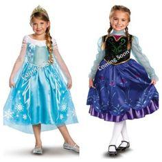 Frozen anna and elsa costumes  sc 1 st  Pinterest & Kids Girls Dresses Disney Elsa Frozen dress costume Princess Anna ...