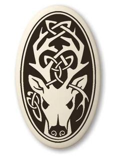 - Celtic Stag Deer Cernunnos Oval Porcelain Pendant - Protector of Nature. - Handcrafted Porcelain Pottery. - Designed in Scotland, Canada, and the USA. Made in the USA. - Descriptive card is printed